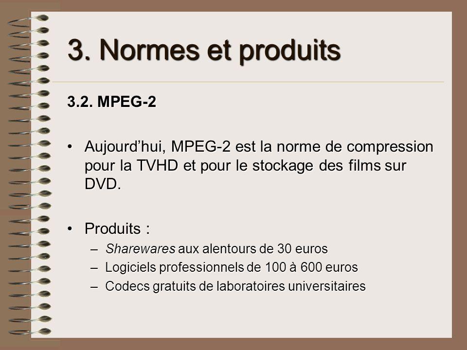 3. Normes et produits 3.2. MPEG-2 Aujourdhui, MPEG-2 est la norme de compression pour la TVHD et pour le stockage des films sur DVD.Aujourdhui, MPEG-2