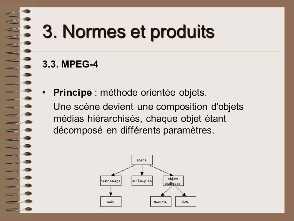 3. Normes et produits 3.3. MPEG-4 Principe : méthode orientée objets.Principe : méthode orientée objets. Une scène devient une composition d'objets mé