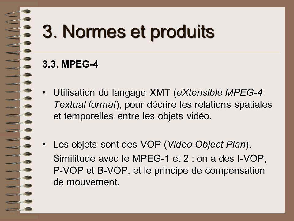 3. Normes et produits 3.3. MPEG-4 Utilisation du langage XMT (eXtensible MPEG-4 Textual format), pour décrire les relations spatiales et temporelles e
