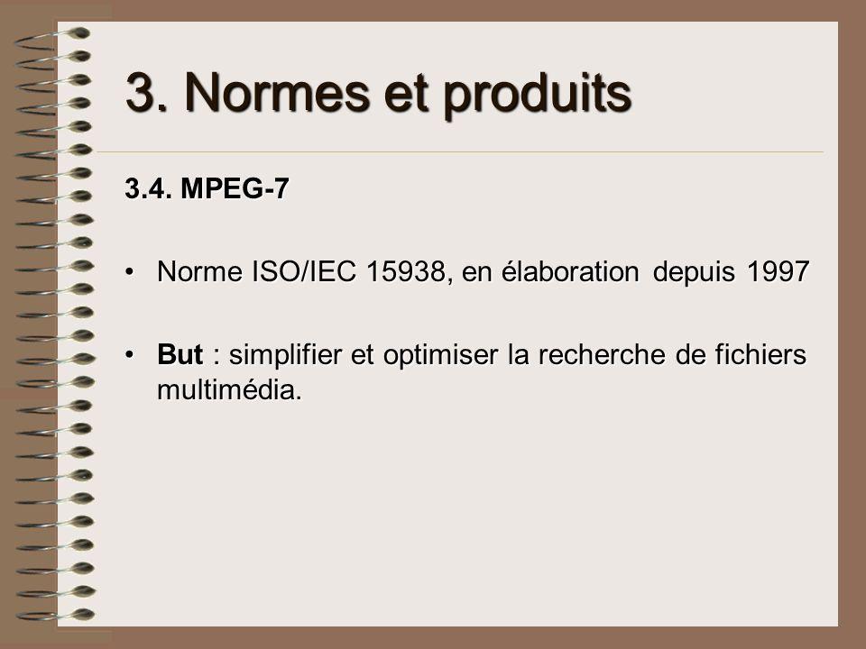 3. Normes et produits 3.4. MPEG-7 Norme ISO/IEC 15938, en élaboration depuis 1997Norme ISO/IEC 15938, en élaboration depuis 1997 But : simplifier et o
