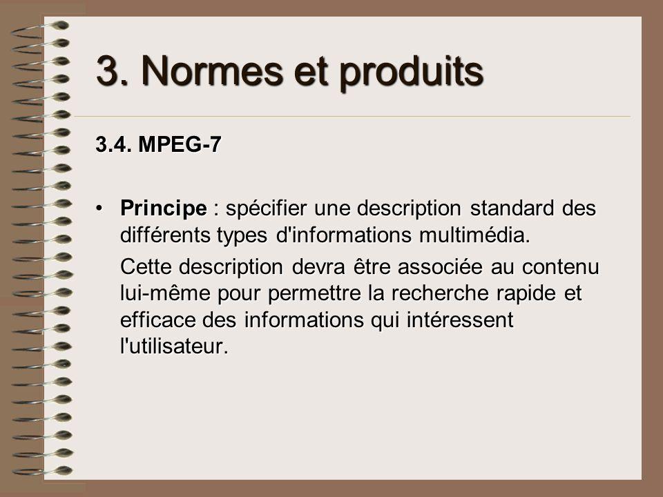 3. Normes et produits 3.4. MPEG-7 Principe : spécifier une description standard des différents types d'informations multimédia.Principe : spécifier un