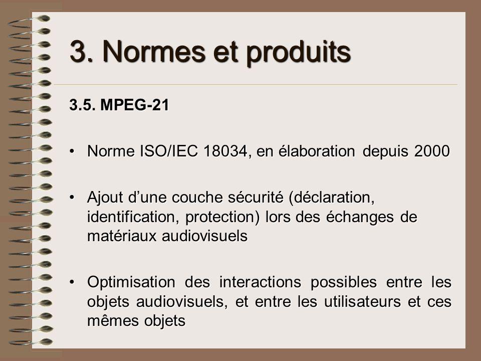 3. Normes et produits 3.5. MPEG-21 Norme ISO/IEC 18034, en élaboration depuis 2000Norme ISO/IEC 18034, en élaboration depuis 2000 Ajout dune couche sé
