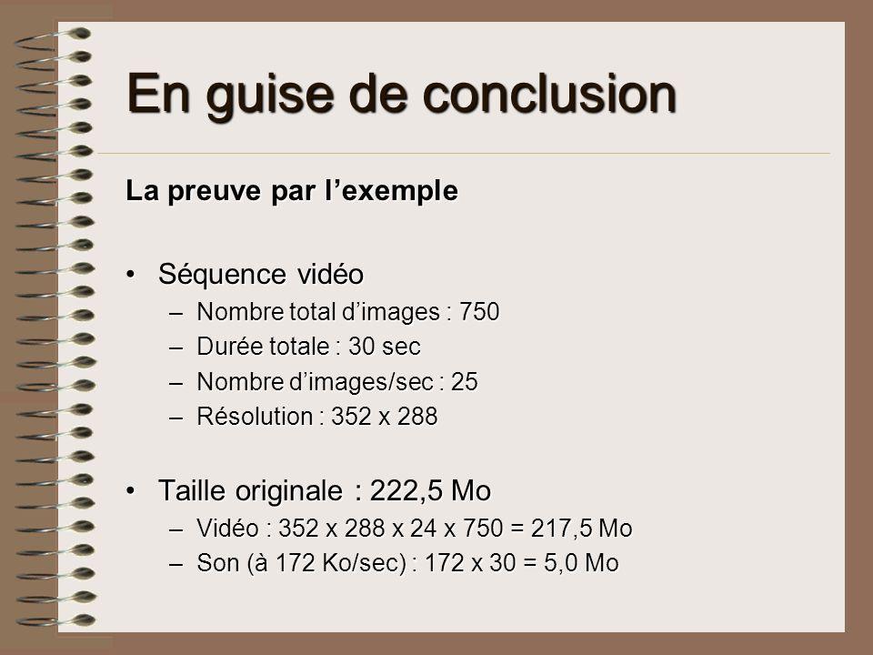 En guise de conclusion La preuve par lexemple Séquence vidéoSéquence vidéo –Nombre total dimages : 750 –Durée totale : 30 sec –Nombre dimages/sec : 25