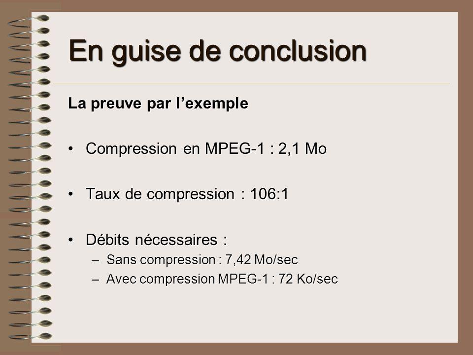 En guise de conclusion La preuve par lexemple Compression en MPEG-1 : 2,1 MoCompression en MPEG-1 : 2,1 Mo Taux de compression : 106:1Taux de compress