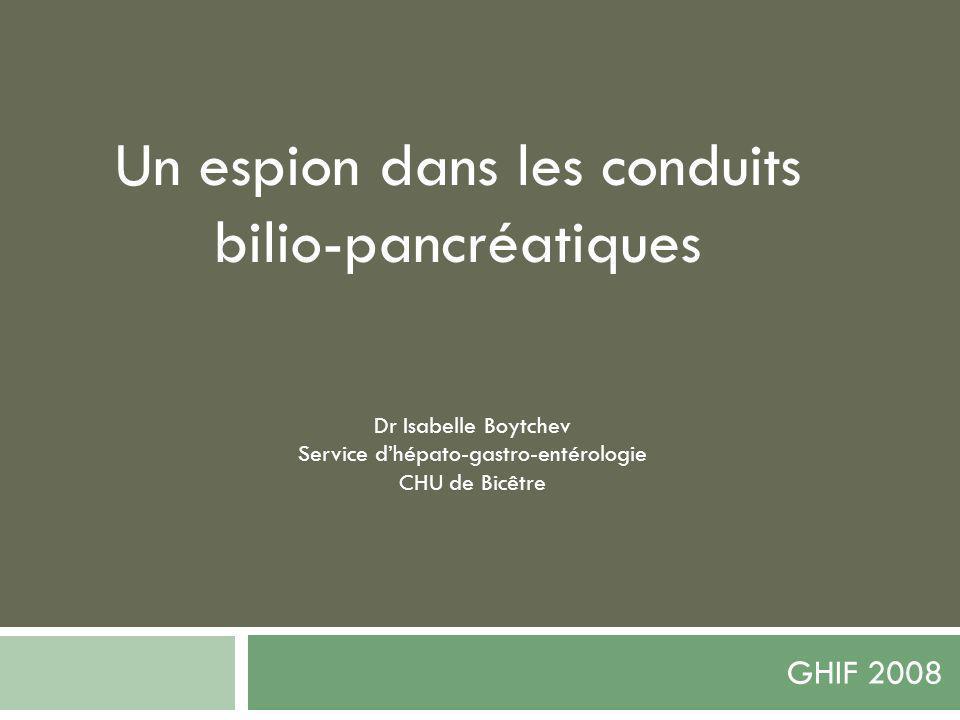 GHIF 2008 Dr Isabelle Boytchev Service dhépato-gastro-entérologie CHU de Bicêtre Un espion dans les conduits bilio-pancréatiques