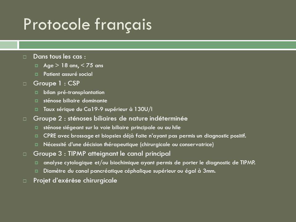 Protocole français Dans tous les cas : Age > 18 ans, < 75 ans Patient assuré social Groupe 1 : CSP bilan pré-transplantation sténose biliaire dominant