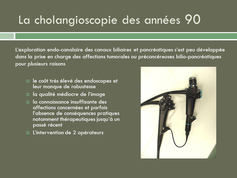 La cholangioscopie des années 90 le coût très élevé des endoscopes et leur manque de robustesse la qualité médiocre de limage la connaissance insuffis