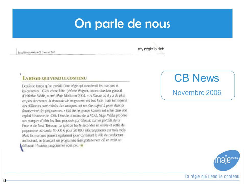 On parle de nous 14 CB News Novembre 2006