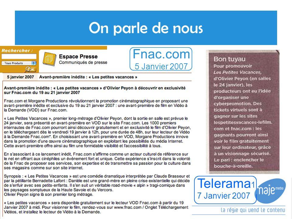 On parle de nous 16 Telerama 1 7 Janvier 2007 Fnac.com 5 Janvier 2007