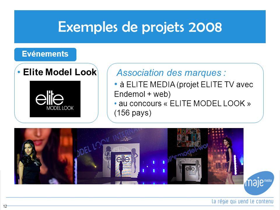12 Elite Model Look Exemples de projets 2008 Evénements Association des marques : à ELITE MEDIA (projet ELITE TV avec Endemol + web) au concours « ELITE MODEL LOOK » (156 pays)