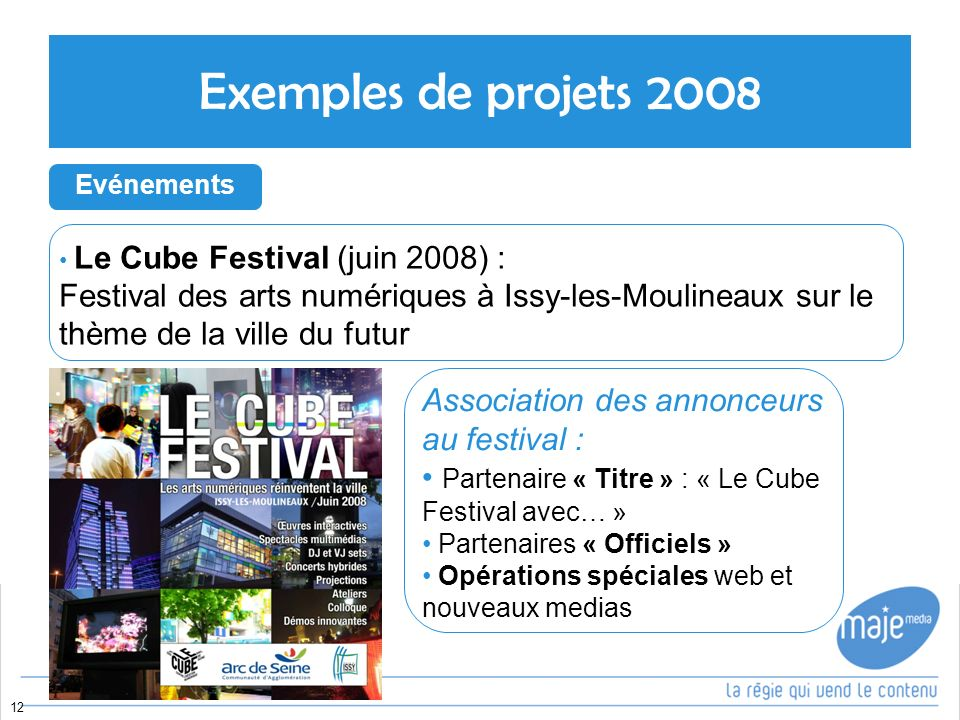 Le Cube Festival (juin 2008) : Festival des arts numériques à Issy-les-Moulineaux sur le thème de la ville du futur 12 Exemples de projets 2008 Evénements Association des annonceurs au festival : Partenaire « Titre » : « Le Cube Festival avec… » Partenaires « Officiels » Opérations spéciales web et nouveaux medias