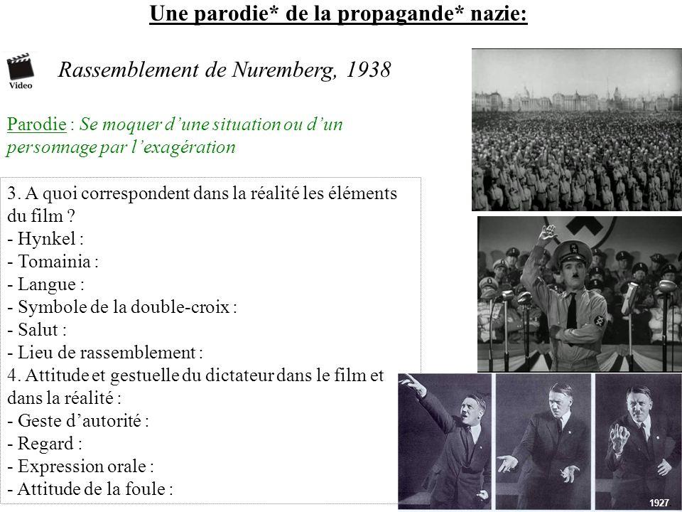 Une parodie* de la propagande* nazie: Rassemblement de Nuremberg, 1938 Parodie : Se moquer dune situation ou dun personnage par lexagération 3. A quoi