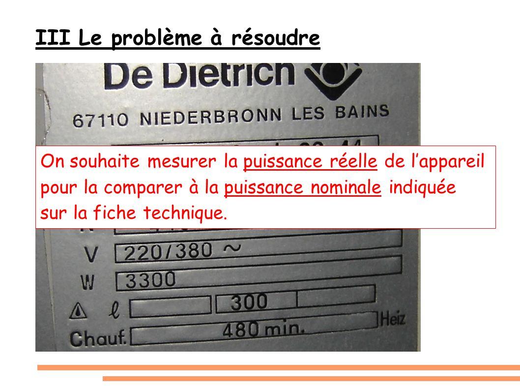 III Le problème à résoudre On souhaite mesurer la puissance réelle de lappareil pour la comparer à la puissance nominale indiquée sur la fiche techniq