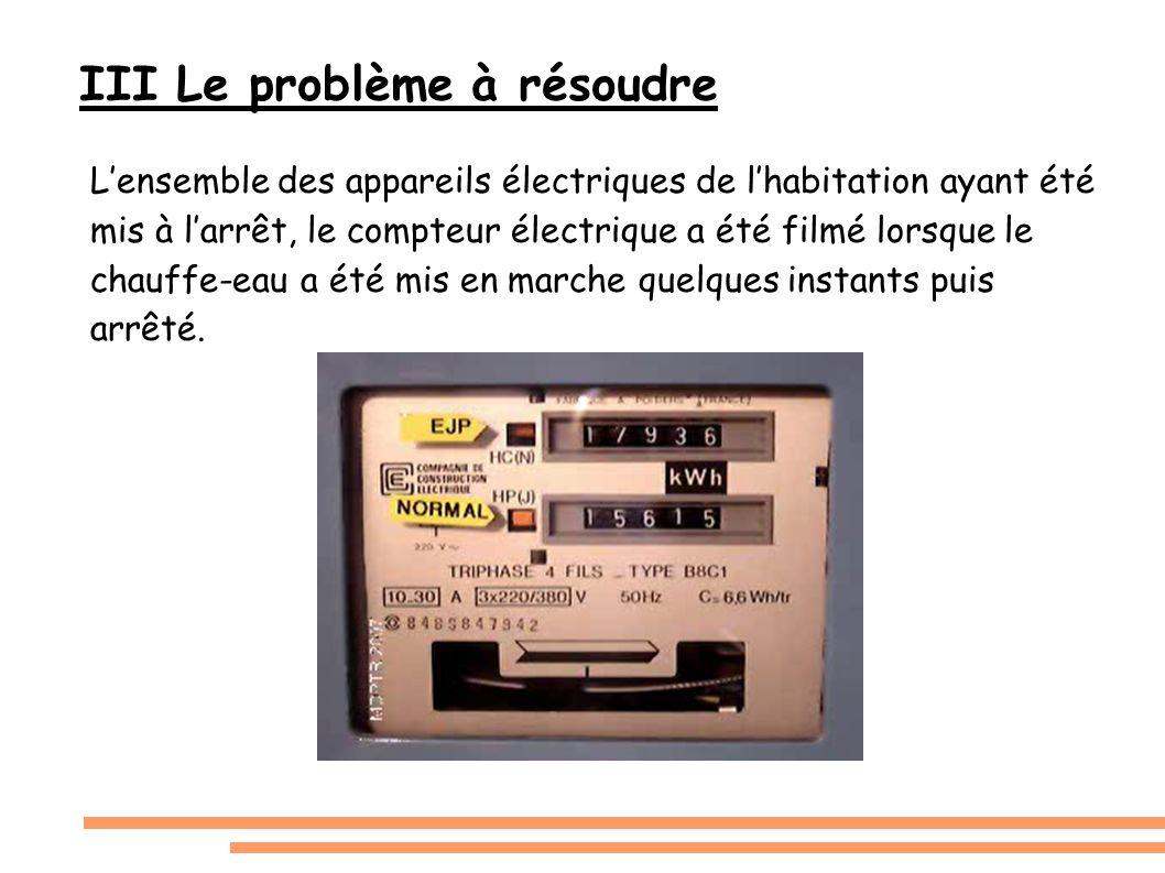 III Le problème à résoudre Lensemble des appareils électriques de lhabitation ayant été mis à larrêt, le compteur électrique a été filmé lorsque le ch