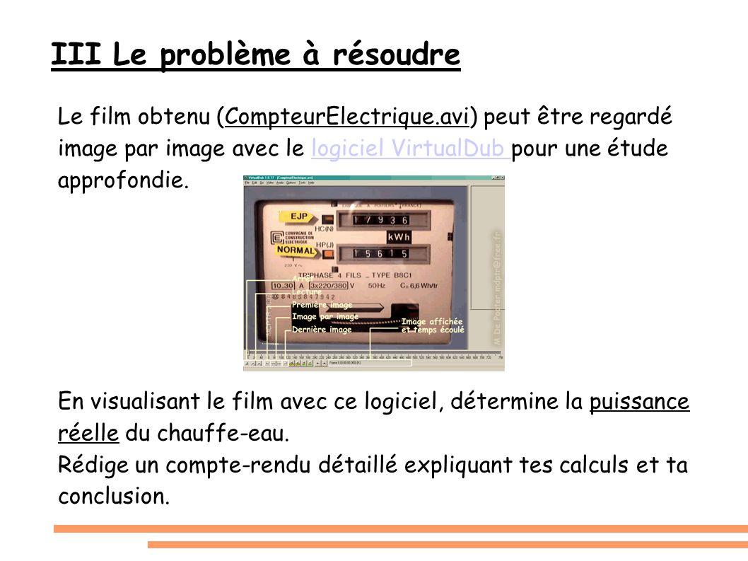 III Le problème à résoudre Le film obtenu (CompteurElectrique.avi) peut être regardé image par image avec le logiciel VirtualDub pour une étude approf