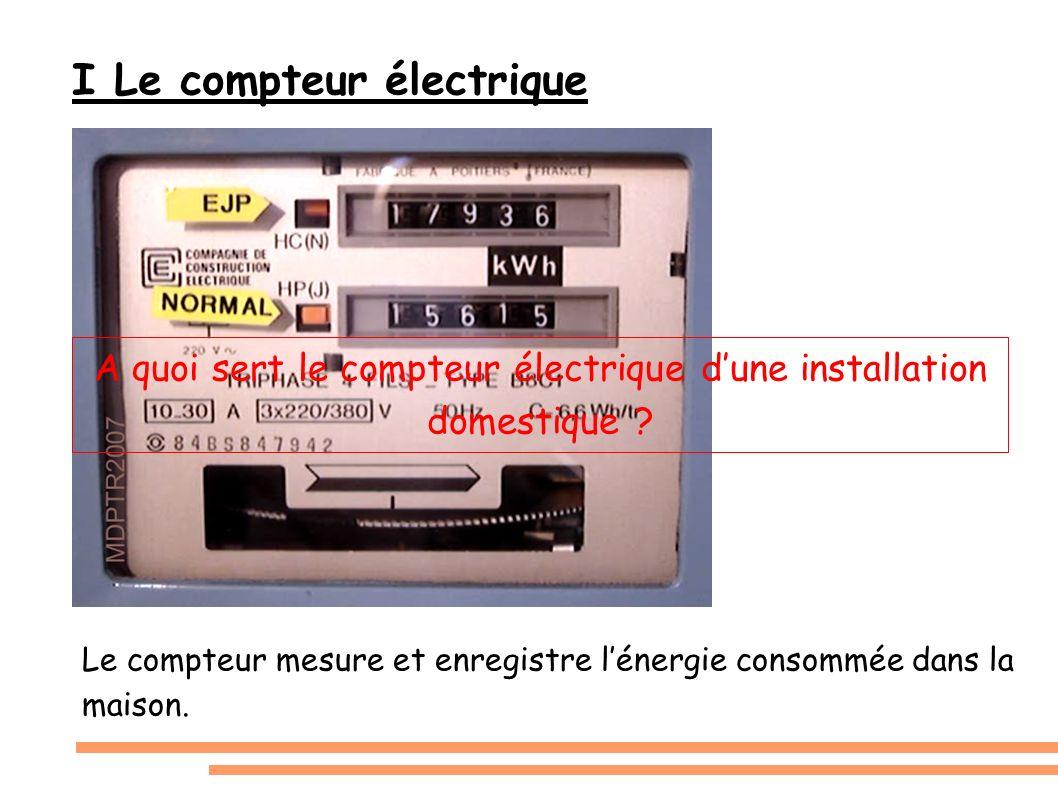 I Le compteur électrique Le compteur mesure et enregistre lénergie consommée dans la maison. A quoi sert le compteur électrique dune installation dome