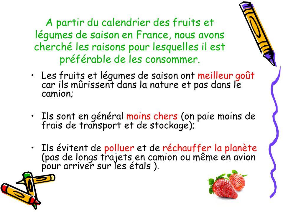 A partir du calendrier des fruits et légumes de saison en France, nous avons cherché les raisons pour lesquelles il est préférable de les consommer. L