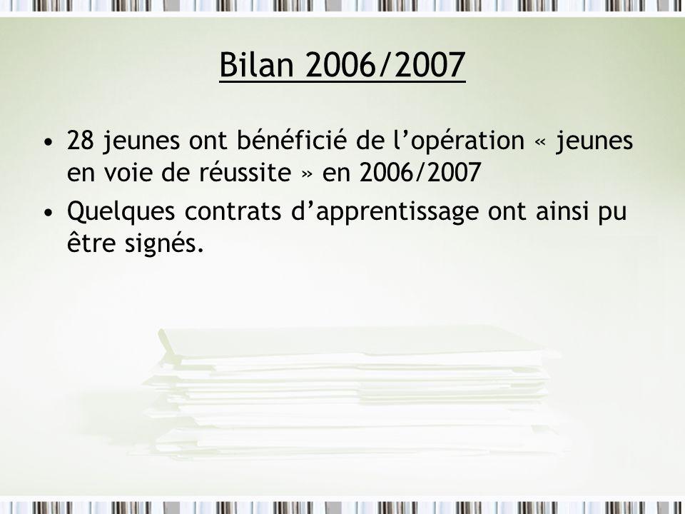 Bilan 2006/2007 28 jeunes ont bénéficié de lopération « jeunes en voie de réussite » en 2006/2007 Quelques contrats dapprentissage ont ainsi pu être s
