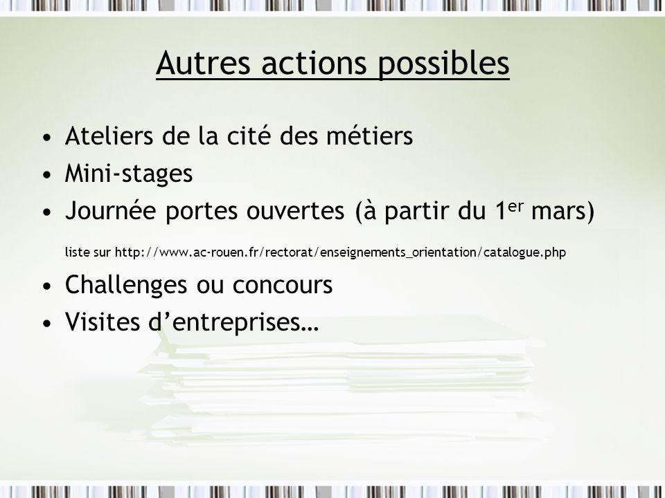 Autres actions possibles Ateliers de la cité des métiers Mini-stages Journée portes ouvertes (à partir du 1 er mars) liste sur http://www.ac-rouen.fr/