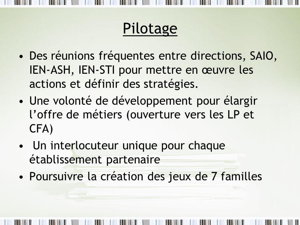 Pilotage Des réunions fréquentes entre directions, SAIO, IEN-ASH, IEN-STI pour mettre en œuvre les actions et définir des stratégies.