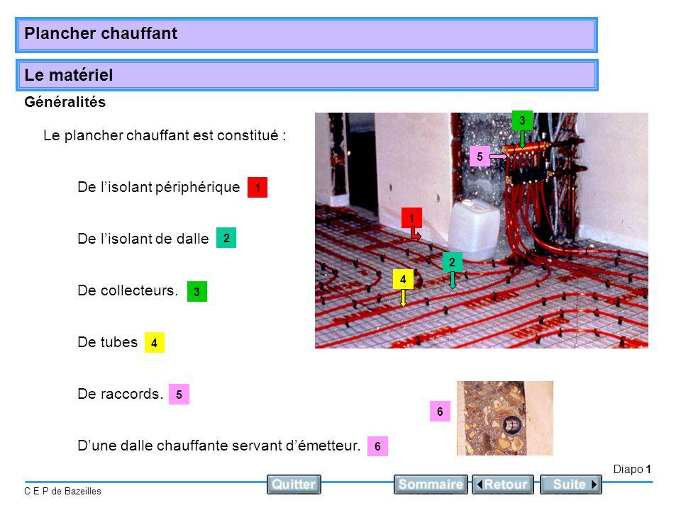 Le matériel Diapo 1 C E P de Bazeilles Plancher chauffant Généralités Le plancher chauffant est constitué : De lisolant de dalle De lisolant périphéri