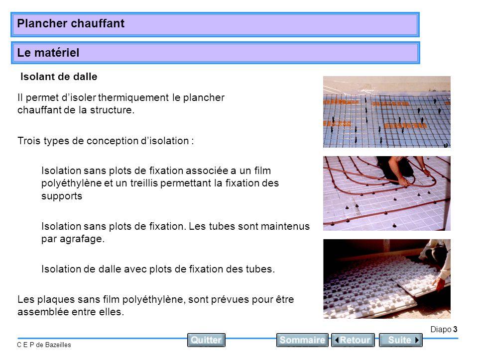 Le matériel Diapo 3 C E P de Bazeilles Plancher chauffant Isolant de dalle Il permet disoler thermiquement le plancher chauffant de la structure. Troi