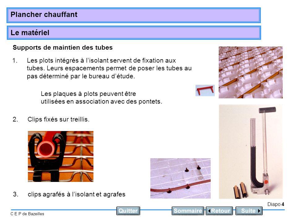 Le matériel Diapo 4 C E P de Bazeilles Plancher chauffant Supports de maintien des tubes 1.Les plots intégrés à lisolant servent de fixation aux tubes