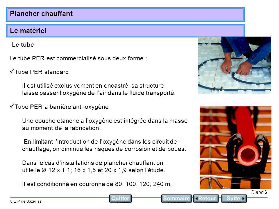 Le matériel Diapo 6 C E P de Bazeilles Plancher chauffant Le tube Le tube PER est commercialisé sous deux forme : Tube PER standard Dans le cas dinsta