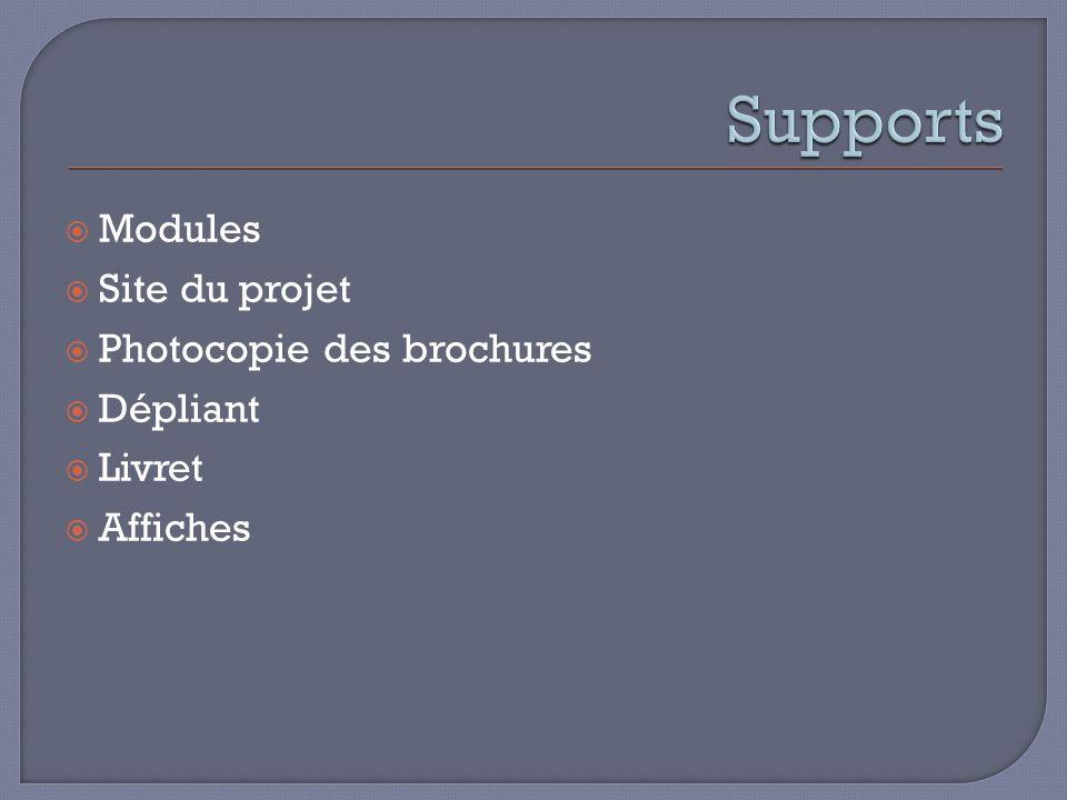 Modules Site du projet Photocopie des brochures Dépliant Livret Affiches