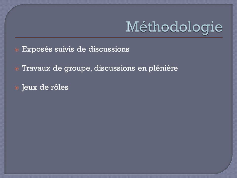 Exposés suivis de discussions Travaux de groupe, discussions en plénière Jeux de rôles