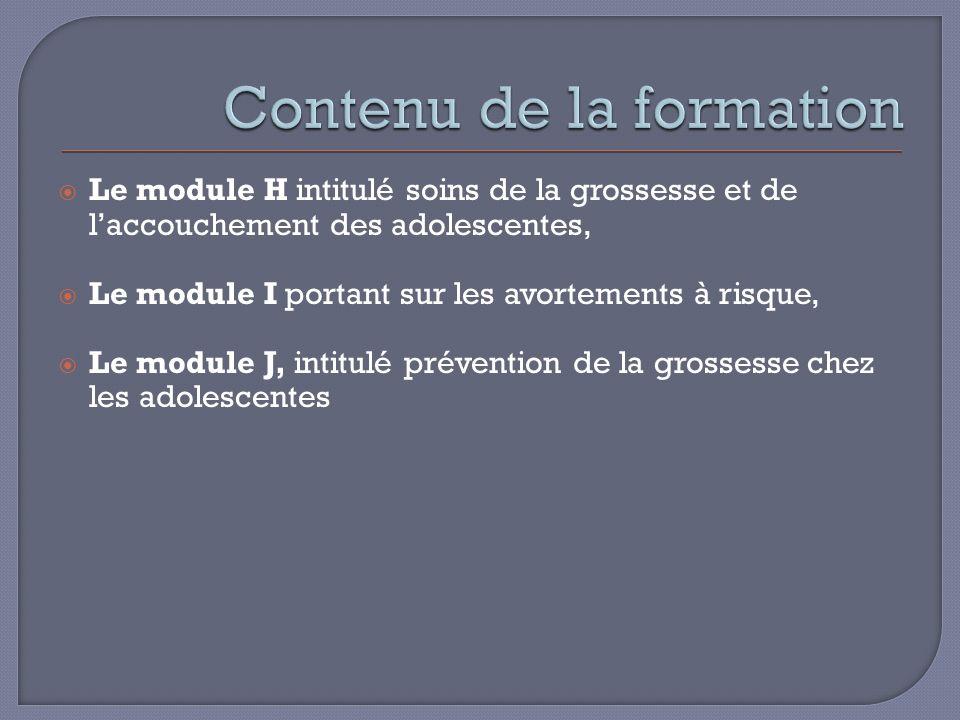 Le module H intitulé soins de la grossesse et de laccouchement des adolescentes, Le module I portant sur les avortements à risque, Le module J, intitulé prévention de la grossesse chez les adolescentes