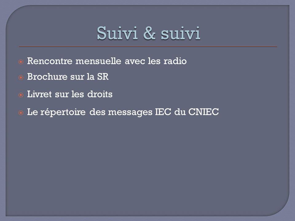 Rencontre mensuelle avec les radio Brochure sur la SR Livret sur les droits Le répertoire des messages IEC du CNIEC