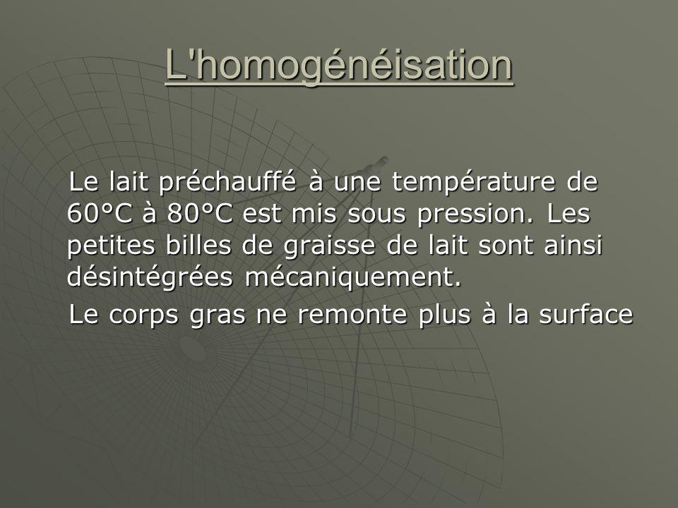 L homogénéisation Le lait préchauffé à une température de 60°C à 80°C est mis sous pression.