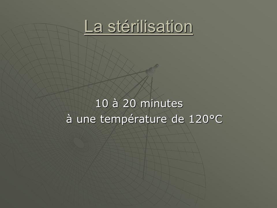 La stérilisation 10 à 20 minutes 10 à 20 minutes à une température de 120°C à une température de 120°C