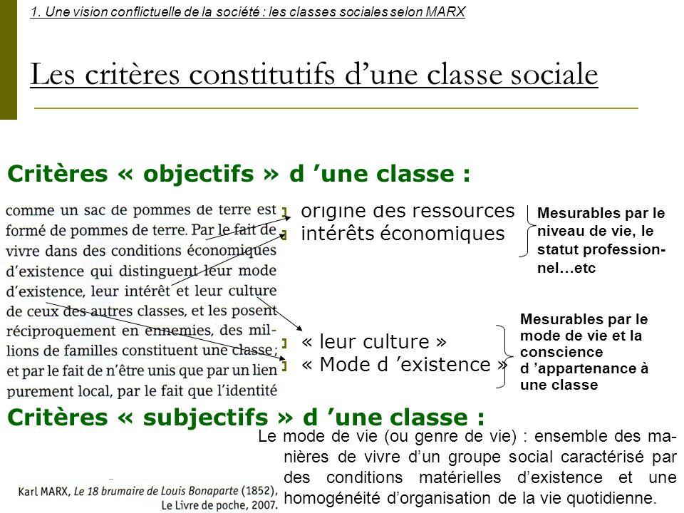 Les critères constitutifs dune classe sociale origine des ressources intérêts économiques « leur culture » « Mode d existence » Mesurables par le nive