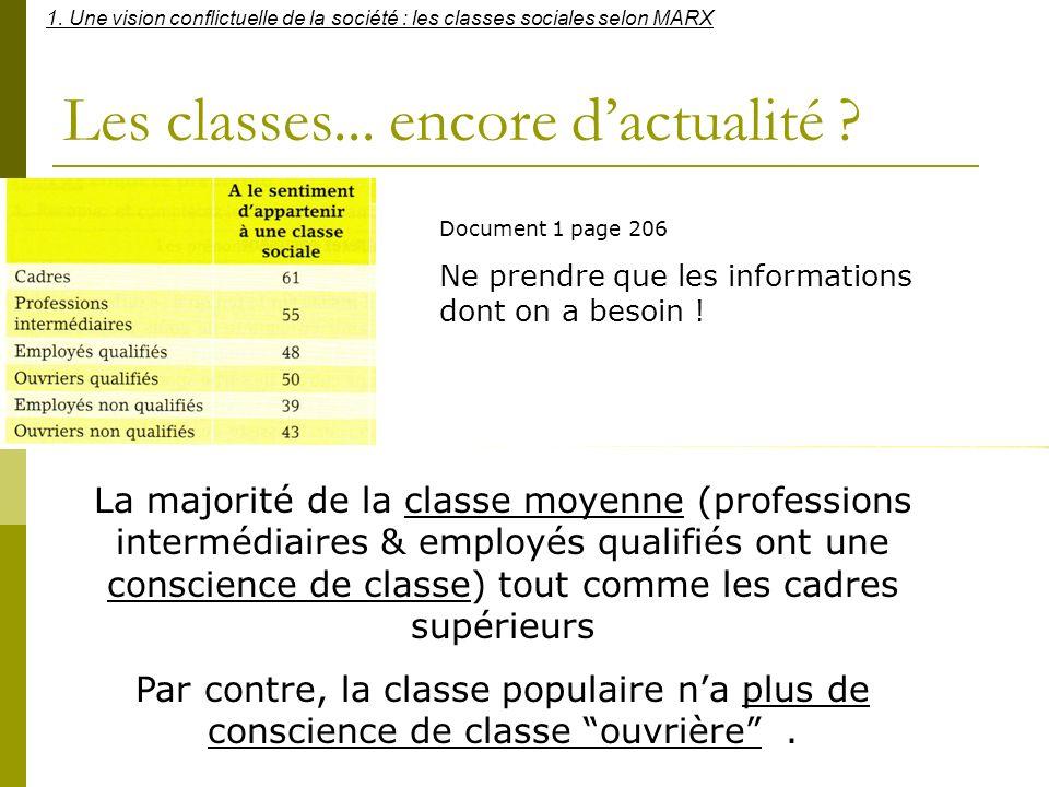Les classes... encore dactualité ? Document 1 page 206 Ne prendre que les informations dont on a besoin ! La majorité de la classe moyenne (profession