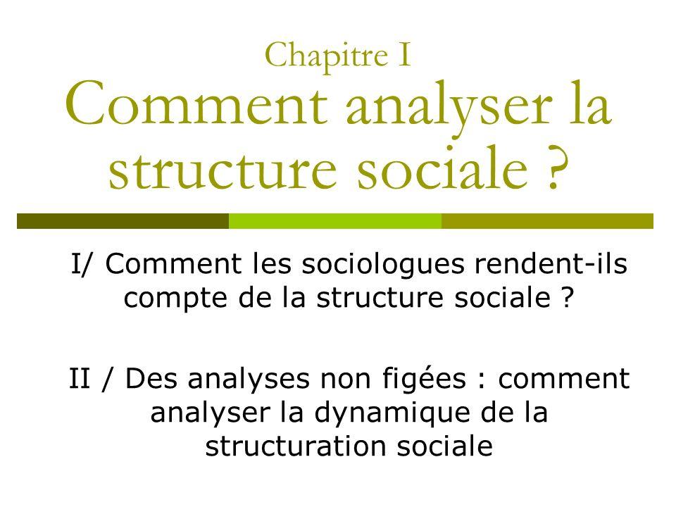I/ Comment les sociologues rendent-ils compte de la structure sociale ? II / Des analyses non figées : comment analyser la dynamique de la structurati