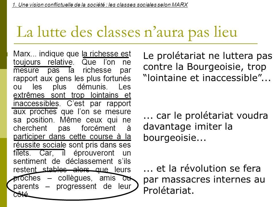 La lutte des classes naura pas lieu Marx... indique que la richesse est toujours relative. Que lon ne mesure pas la richesse par rapport aux gens les