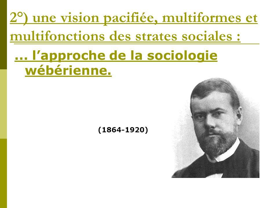 2°) une vision pacifiée, multiformes et multifonctions des strates sociales :... lapproche de la sociologie wébérienne. (1864-1920)
