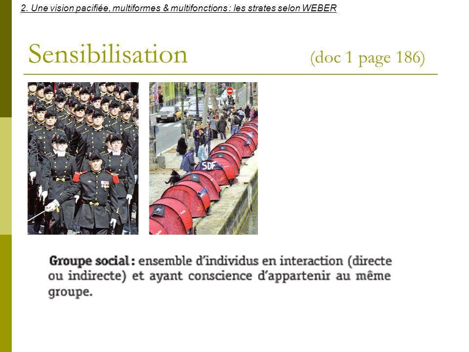 Sensibilisation (doc 1 page 186) 2. Une vision pacifiée, multiformes & multifonctions : les strates selon WEBER