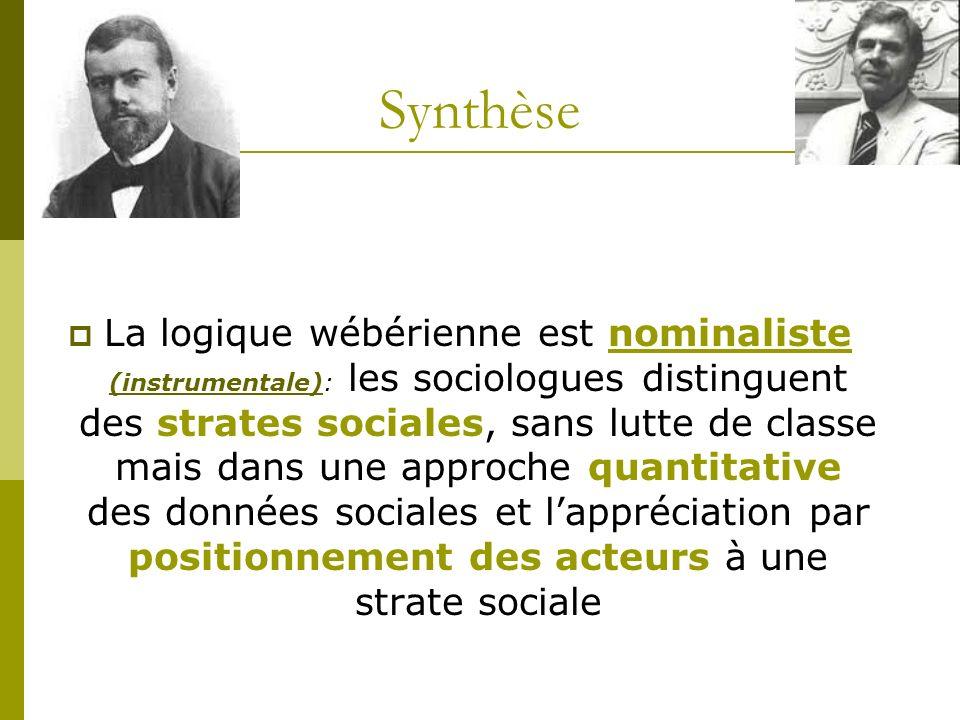 Synthèse La logique wébérienne est nominaliste (instrumentale): les sociologues distinguent des strates sociales, sans lutte de classe mais dans une a