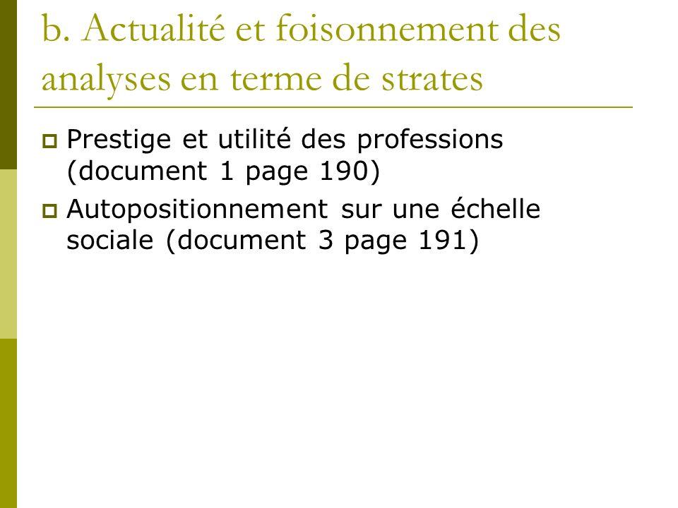 b. Actualité et foisonnement des analyses en terme de strates Prestige et utilité des professions (document 1 page 190) Autopositionnement sur une éch