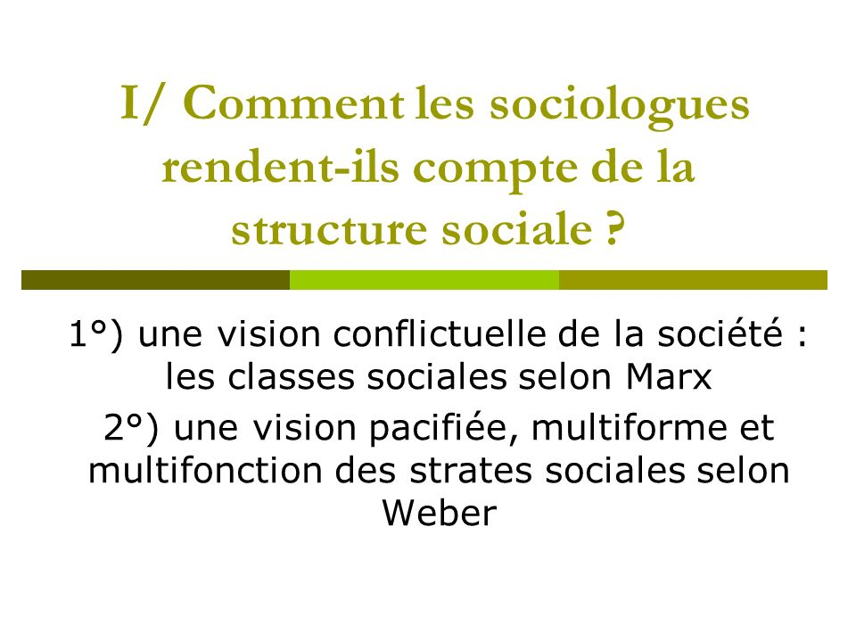 I/ Comment les sociologues rendent-ils compte de la structure sociale ? 1°) une vision conflictuelle de la société : les classes sociales selon Marx 2