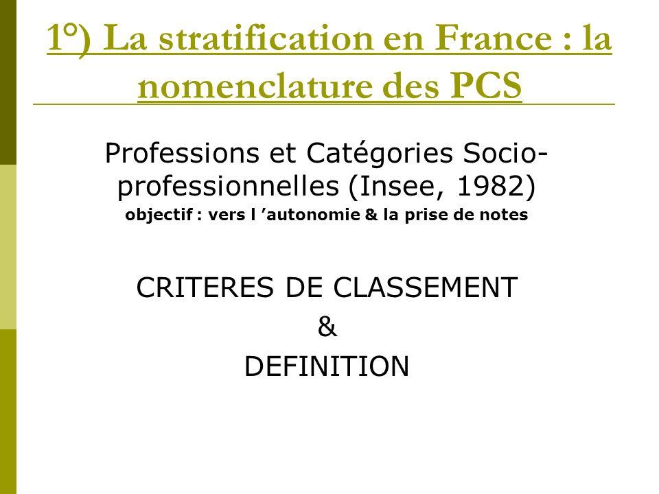 1°) La stratification en France : la nomenclature des PCS Professions et Catégories Socio- professionnelles (Insee, 1982) objectif : vers l autonomie