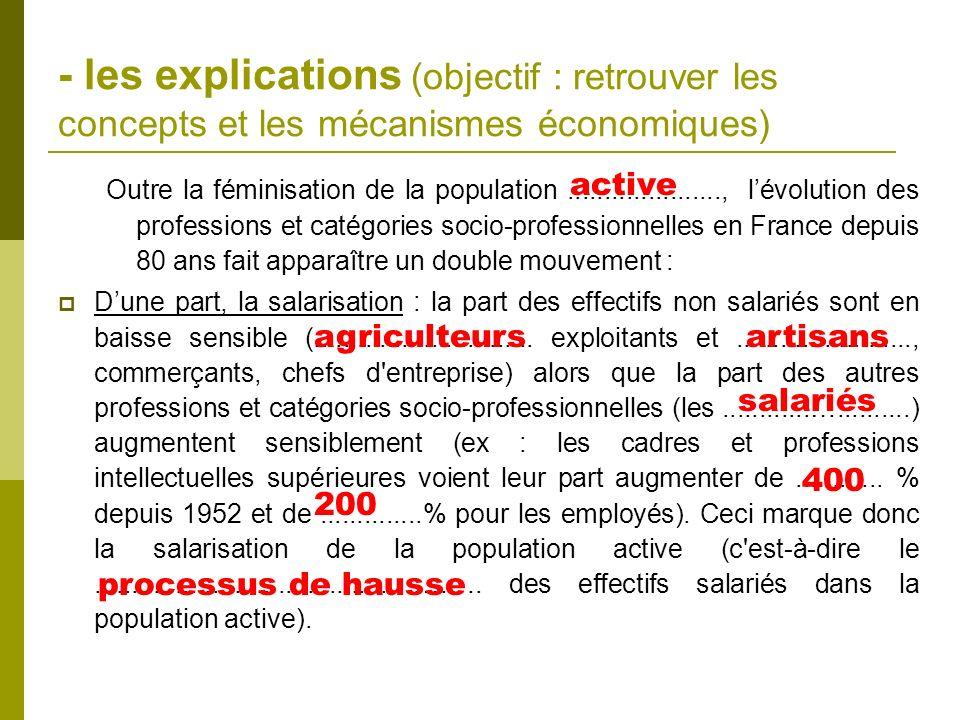 - les explications (objectif : retrouver les concepts et les mécanismes économiques) Outre la féminisation de la population....................., lévo