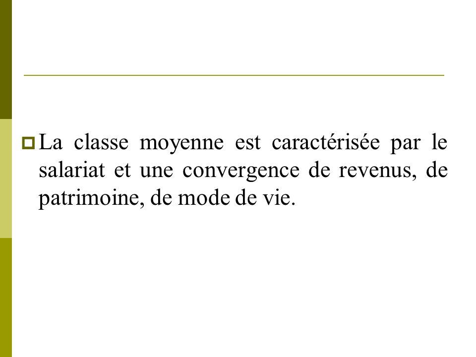 La classe moyenne est caractérisée par le salariat et une convergence de revenus, de patrimoine, de mode de vie.