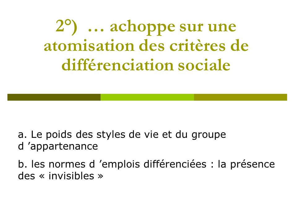 2°) … achoppe sur une atomisation des critères de différenciation sociale a. Le poids des styles de vie et du groupe d appartenance b. les normes d em
