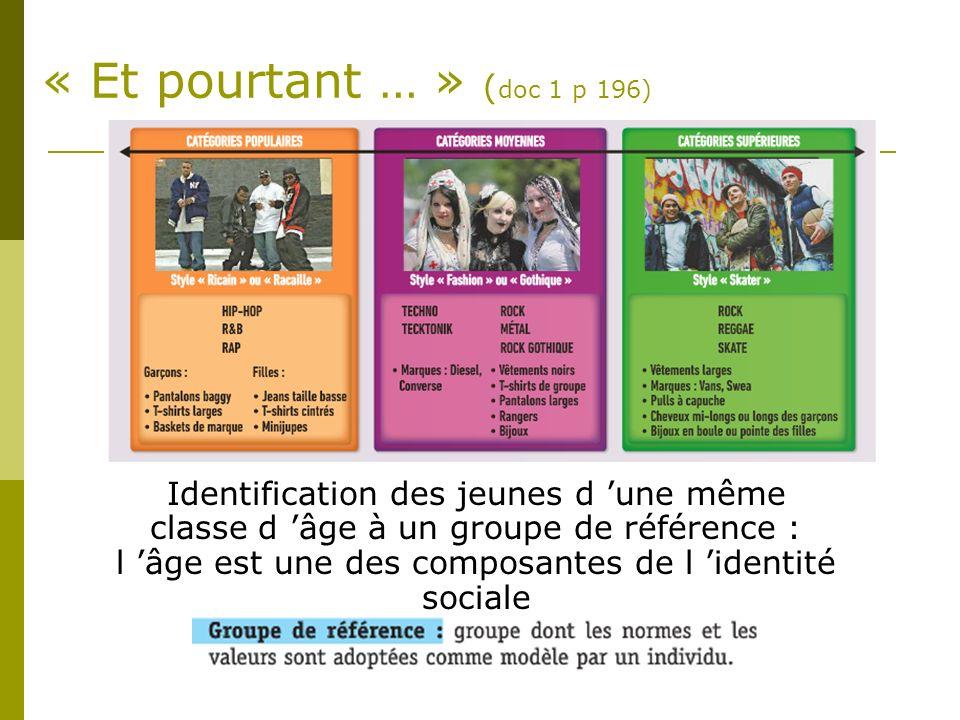 « Et pourtant … » ( doc 1 p 196) Identification des jeunes d une même classe d âge à un groupe de référence : l âge est une des composantes de l ident