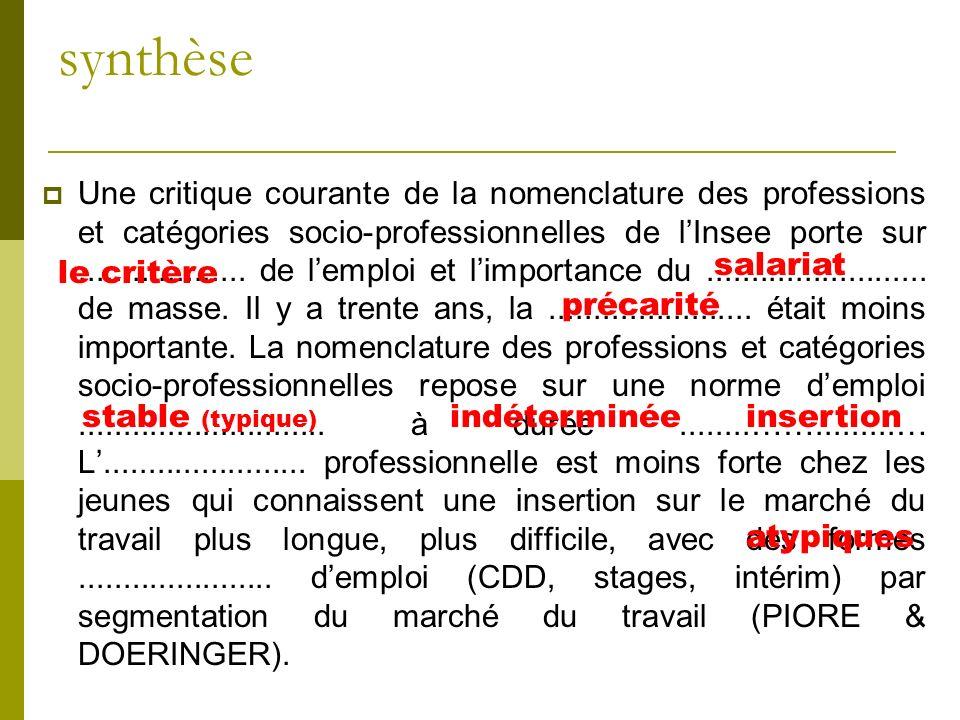 synthèse Une critique courante de la nomenclature des professions et catégories socio-professionnelles de lInsee porte sur................... de lempl