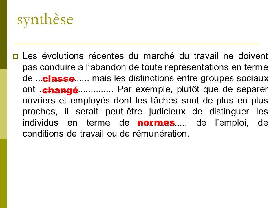 synthèse Les évolutions récentes du marché du travail ne doivent pas conduire à labandon de toute représentations en terme de..................... mai